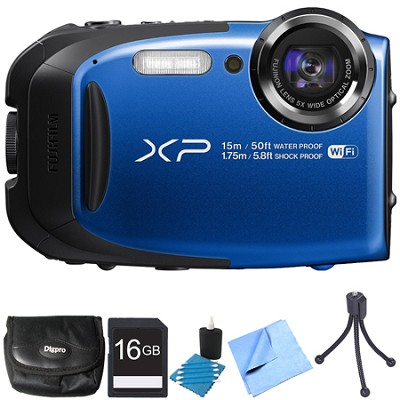 FinePix XP80 16MP Waterproof Digital Camera Blue 16GB Bundle