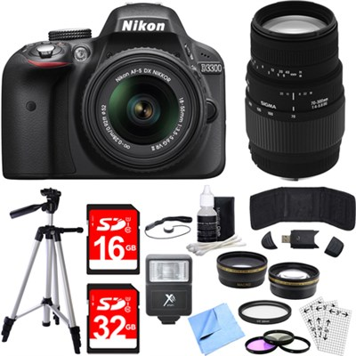 D3300 DSLR 24.2 MP HD 1080p Camera w/ 18-55mm + 70-300mm Lens Black Bundle