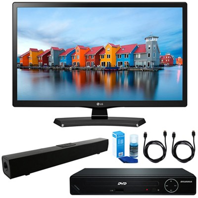 24-Inch Smart LED TV 2017 Model w/ HDMI DVD Player & Sound Bar Bundle