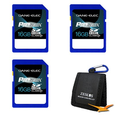 Pro200X 16GB SDHC Class 10 Memory Card 3-Pack Bundle Deal