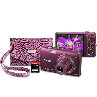 COOLPIX S5200 16 MP Built-In Wi-Fi Digital Camera - Plum Mother's Day Bundle