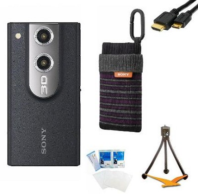 MHS-FS3 Bloggie 3D 8GB Black HD Camera Camcorder w/ 3D Video/Still Bundle