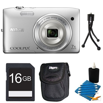 COOLPIX S3500 Silver Digital Camera 16GB Bundle