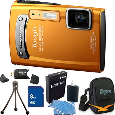 Tough TG-310 14 MP Water/Shock/Freezeproof Digital Camera Orange 8GB Kit