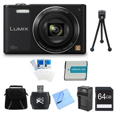 LUMIX DMC-SZ10 Black 16MP Slim Digital Camera 64GB Bundle