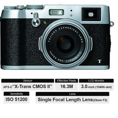 X100T HD 16.3MP 1080p Silver Compact Digital Camera
