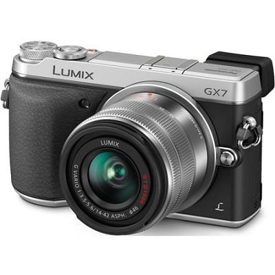 LUMIX DMC-GX7 Interchangeable Lens (DSLM) Silver Camera with 14-42 II Lens