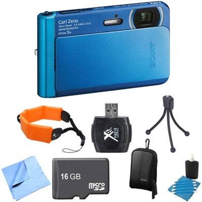DSC-TX30/L Blue 18.2MP Water, Dust, Freeze, Shockproof Camera 16GB Bundle
