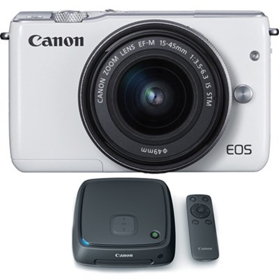 EOS M10 Mirrorless Camera w/ EF-M 15-45mm IS STM Lens + 1TB CS100 Hub - White