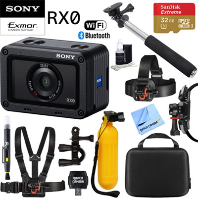 RX0 1.0-type Sensor Ultra-Compact Camera w/ Waterproof +32GB Outdoor Mount Kit