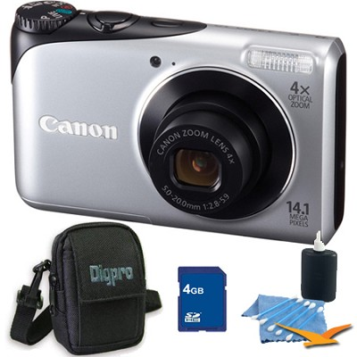 PowerShot A2200 14MP Silver Digital Camera 4GB Bundle