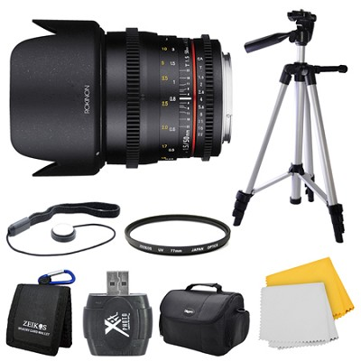 DS 50mm T1.5 Full Frame Wide Angle Cine Lens for Sony A Mount Bundle