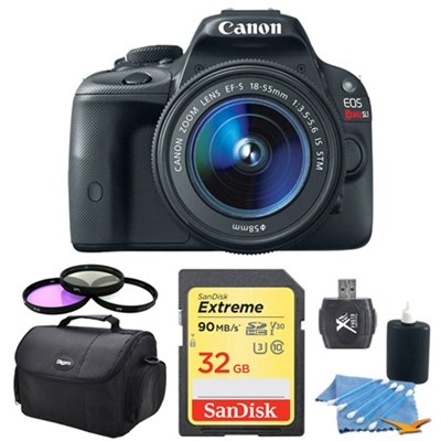EOS Rebel SL1 18MP SLR Digital Camera w/ 18-55mm IS STM 32GB Lexar Card Bundle