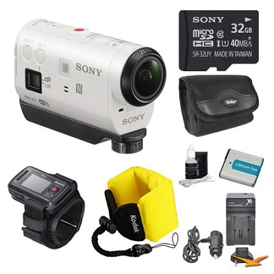 HDR-AZ1VR/W POV HD Camcorder with Live View Remote 32GB Bundle