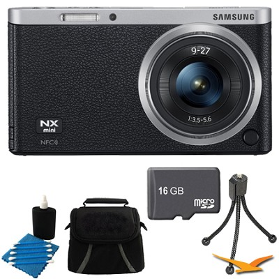 NX Mini Mirrorless Digital Camera with 9-27mm Lens and Flash Black Bundle