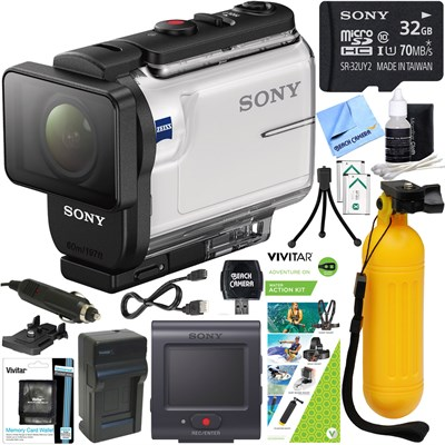 HDR-AS300R Action Cam w/ Live View Remote + Water Action Kit & Memory Bundle