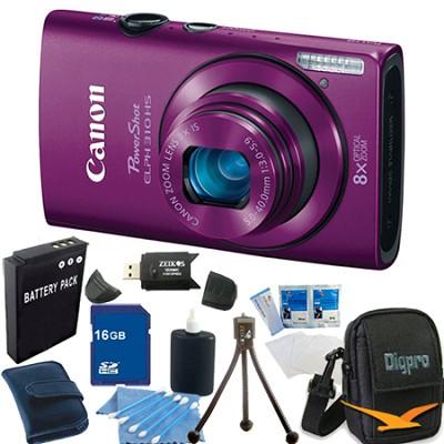 PowerShot ELPH 310 HS 12MP Purple Digital Camera 16GB Bundle