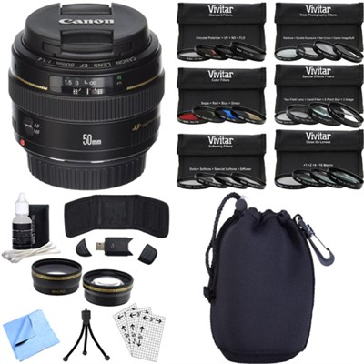 EF 50mm f/1.4 USM Telephoto Lens for Canon SLR Cameras Photography Bundle