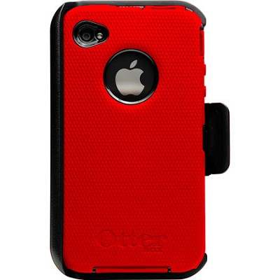 Universal Defender Case for iPhone 4 (Red Silicone & Black Plastic)