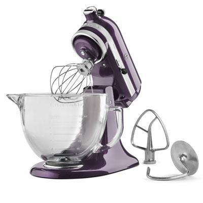 Artisan Series 5-Quart Stand Mixer in Plumberry with Glass Bowl