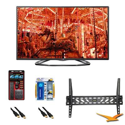 55LA6200 55 Inch 1080p 3D Smart TV 120Hz Dual Core 3D Direct LED Mount Bundle
