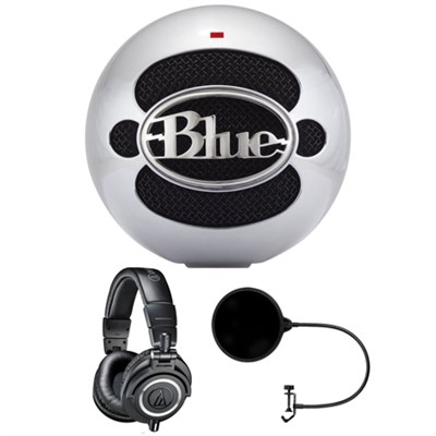 Snowball USB Microphone Aluminum - SNOWBALLALUMINUM w/ Headphone Bundle