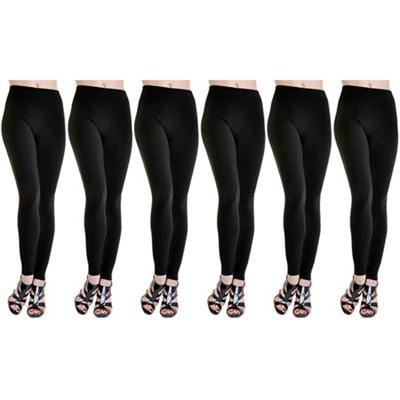 6-Pack Fleece Lined Leggings Midnight Black Regular Size ( M/L )