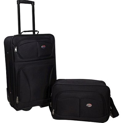 Fieldbrook 2 Piece Luggage Set with 21` Upright and 15` Boarding bag (Black)