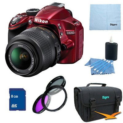 D3200 DX-format Digital SLR Kit w/ 18-55mm DX VR Zoom Lens Pro Kit (Red)