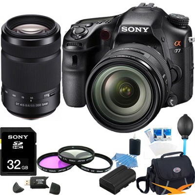 SLTA77VQ a77 Digital SLR 24.3 MP with 16-50mm, 55-300 Ultimate Bundle