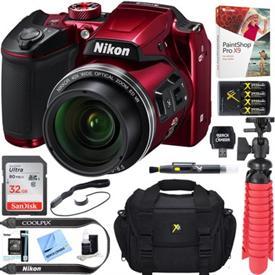 COOLPIX B500 16MP 40x Optical Zoom Wi-Fi Digital Camera (Red) + 16GB Bundle