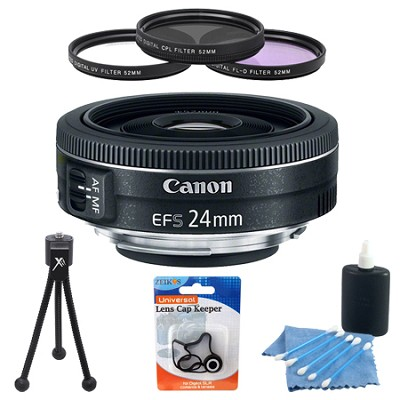 EF-S 24mm f/2.8 STM Camera Lens Accessory Bundle