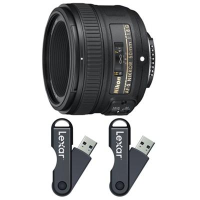 50mm f/1.8G AF-S NIKKOR Lens 64GB USB Flash Drive 2-Pack Bundle