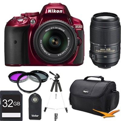 D5300 DX-Format Digital SLR Kit (Red) w 18-55mm & 55-300mm VR Lens 32GB Bundle