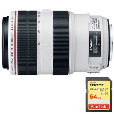 EF 70-300mm f/4-5.6L IS USM UD Lens f/Canon EOS SLR Cameras w/ 64GB Memory Card