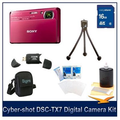 Cyber-shot DSC-TX7 10.2 MP Camera (Red) w/ 16GB, Case & More
