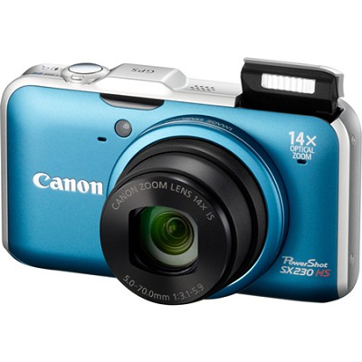 PowerShot SX230 HS 12MP 14x Zoom Blue Digital Camera
