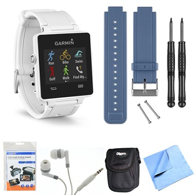 vivoactive GPS Smartwatch - White (010-01297-01) Blue Replacement Band Bundle