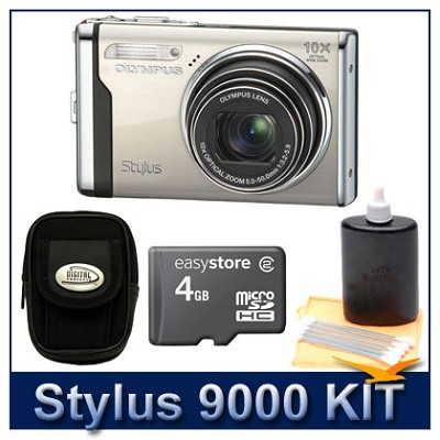 Stylus 9000 12MP 2.7` LCD Digital Camera (Champagne) Savings Bundle