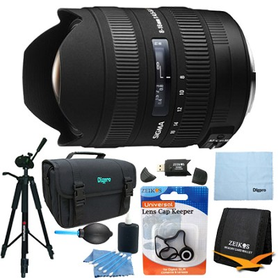 8-16mm f/4.5-5.6 DC HSM FLD AF Zoom Lens for Canon DSLR Camera Lens Kit Bundle
