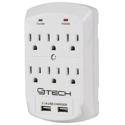 6 Outlet Wall Tap Surge Protector with Dual 2.1A USB Ports
