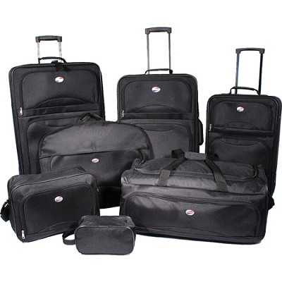 7 Piece Ultra Lightweight Deluxe Luggage Set - Black