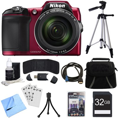 COOLPIX L840 16MP 38x Opt Zoom Digital Camera (Red) Deluxe Bundle