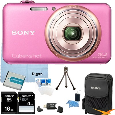 DSC-WX70/P - 16.2MP Exmor R CMOS Camera 3.0` LCD 5x Zoom (Pink) 8GB Bundle