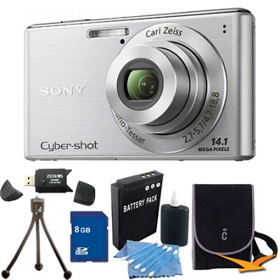 Cyber-shot DSC-W530 Silver Digital Camera 8GB Bundle