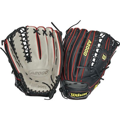 A2000 Outfield 12.75` Baseball Glove (Black/Grey/Red) Left Hand Throw