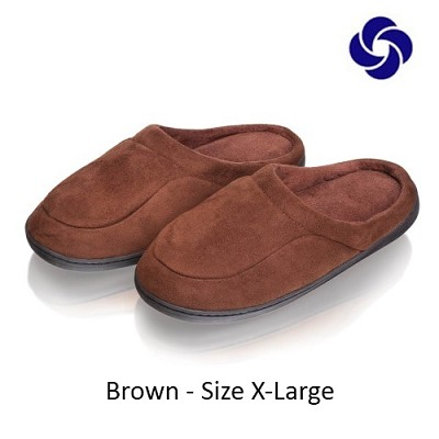 Memory Foam Slippers in Brown Size X-Large (M 10-11, W 12-13)