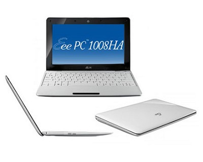 Eee PC 1008HA-PU1X-WT  Pearl White Seashell 10.1 inch NetBook