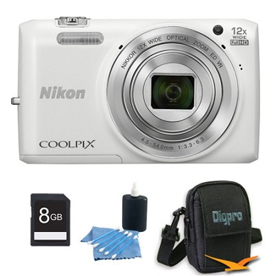 COOLPIX S6800 16MP 1080p HD Video Digital Camera White 8GB Kit Refurbished