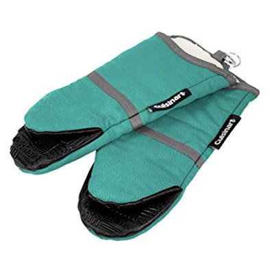 2 Pack Cotton Puppet Oven Mitt with Silicone Grip - Aqua